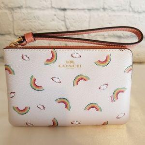 Coach Rainbow + Clouds Corner Zip Wristlet Wallet